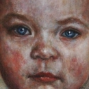 meisje, olieverf op linnen, portret, oilpainting, oil on canvas little girl